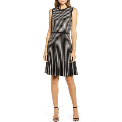 Anne Klein Stripe Fit & Flare Sweater Dress, Black