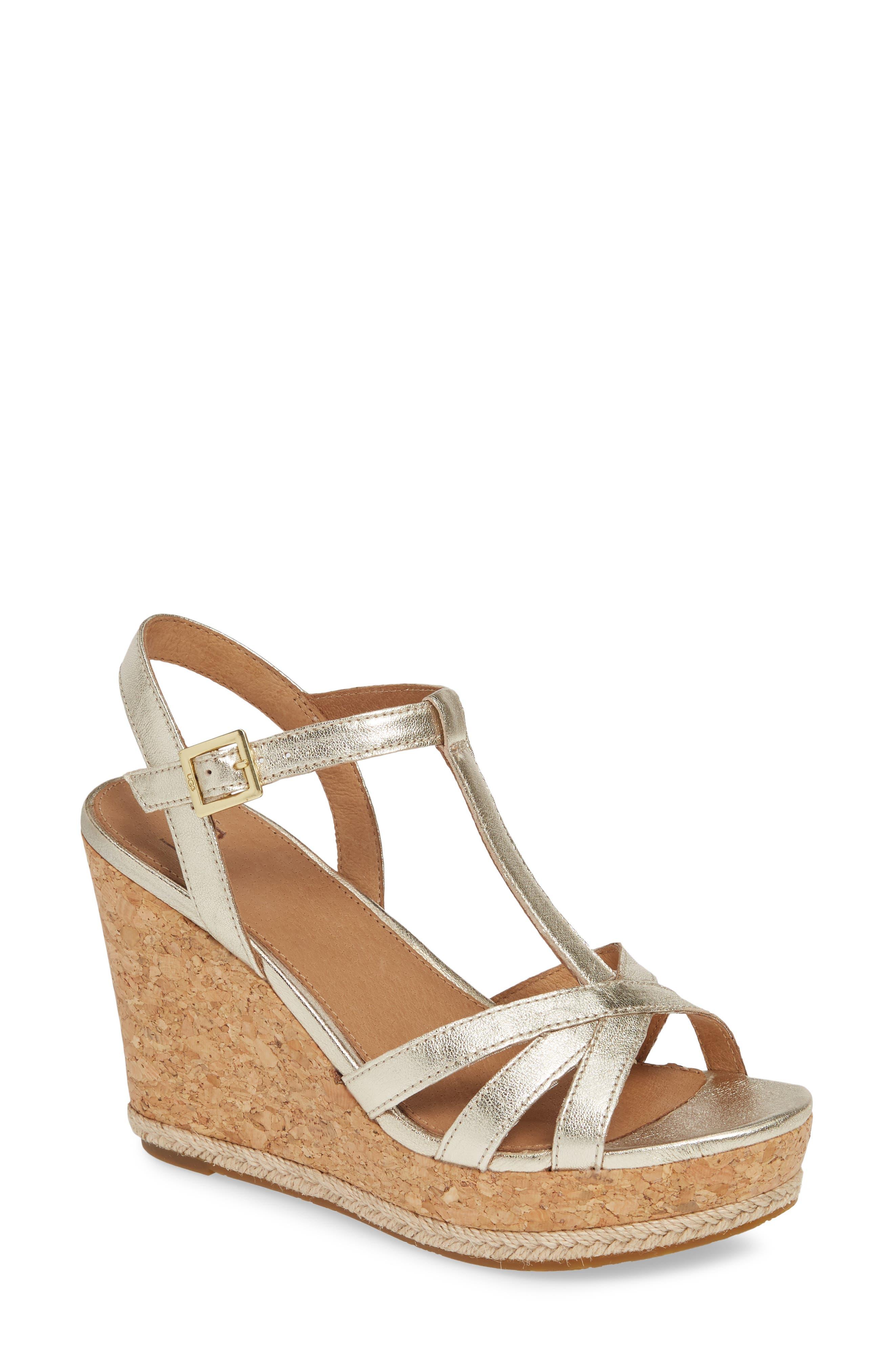 Ugg Melissa Metallic Wedge Sandal, Metallic