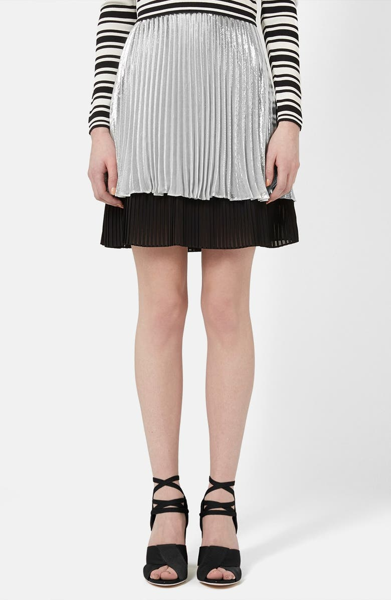 TOPSHOP UNIQUE 'Sun Ray' Two Tier Pleated Skirt, Main, color, 040