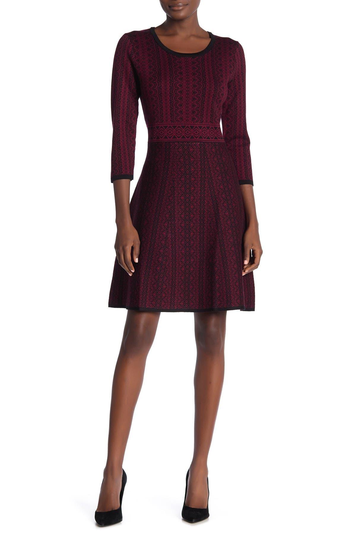 Image of Nina Leonard Geometric Print Sweater Dress