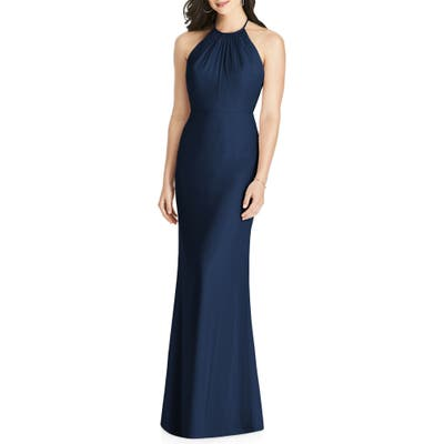 Dessy Collection Ruffle Back Chiffon Halter Gown, Blue
