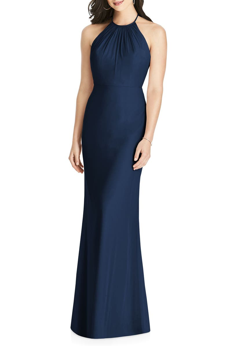 DESSY COLLECTION Ruffle Back Chiffon Halter Gown, Main, color, 405