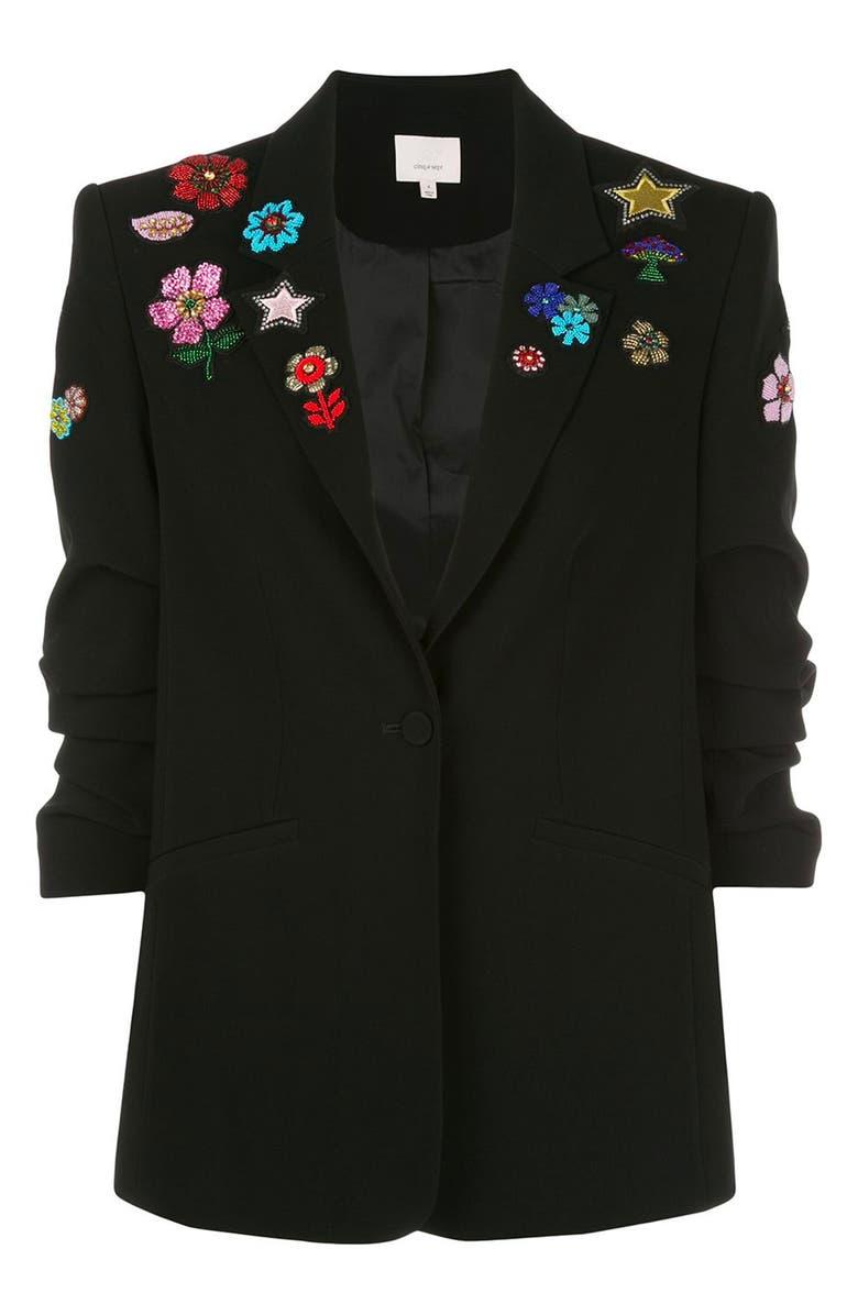 CINQ À SEPT Kylie Flower Power Jacket, Main, color, 001