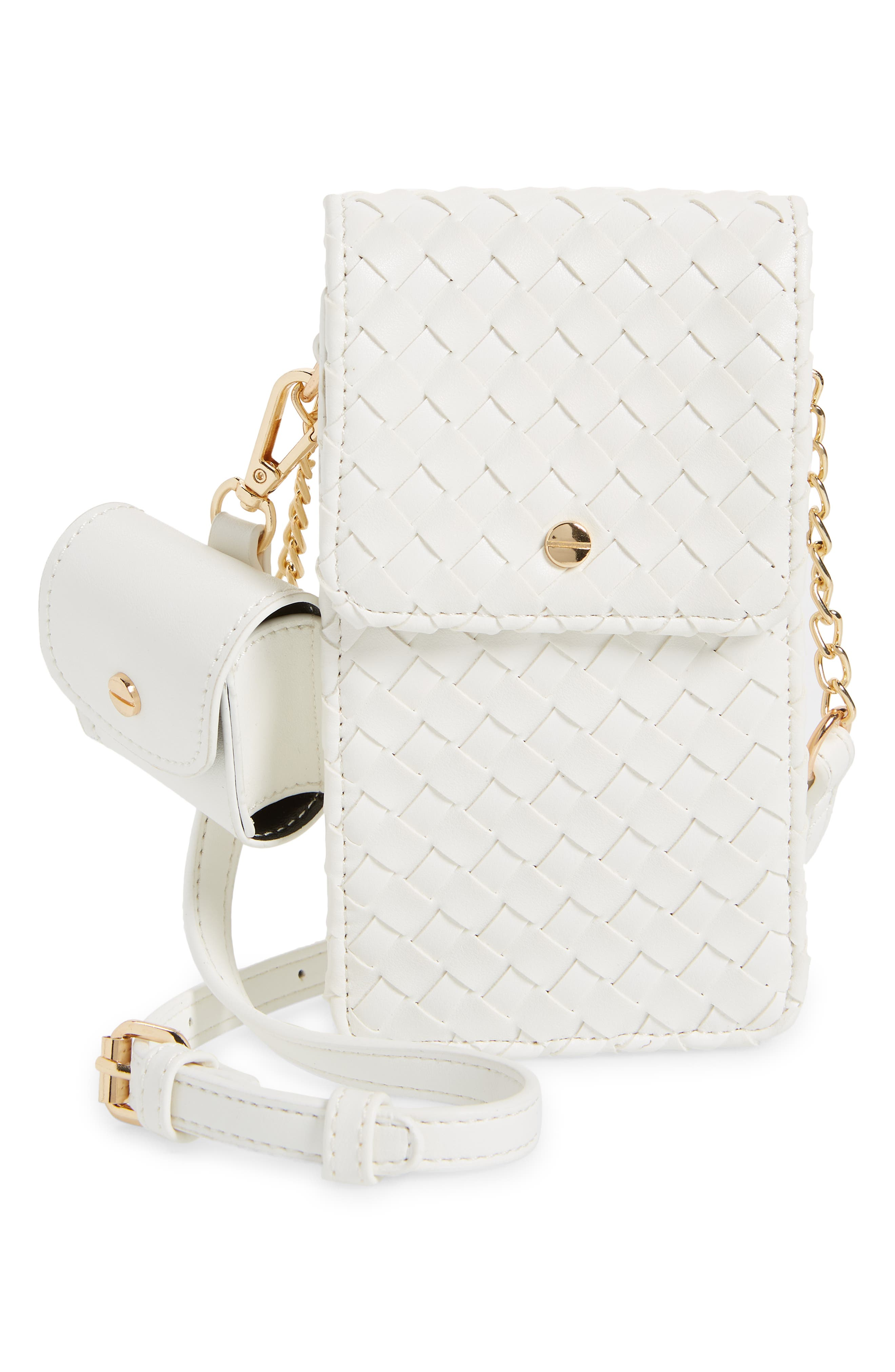 Mali + Lili Woven Vegan Leather Phone Crossbody Bag