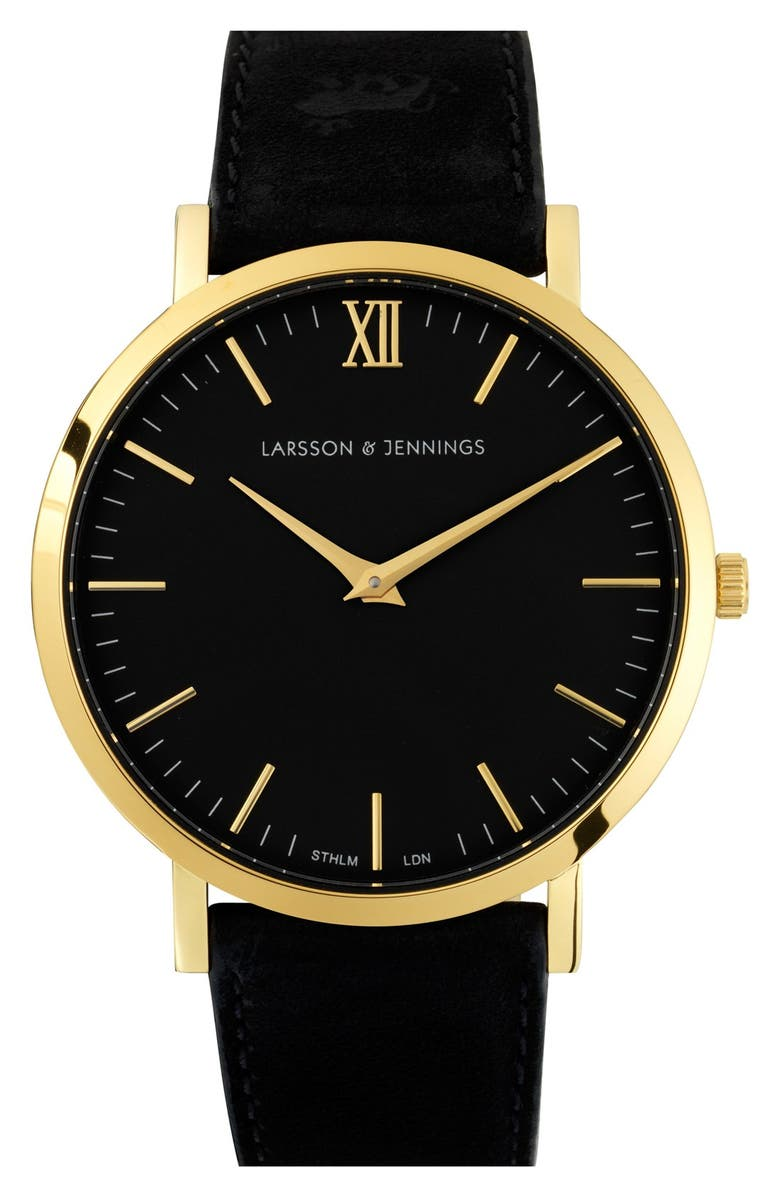 LARSSON & JENNINGS 'Lugano' Short Strap Leather Watch, 40mm, Main, color, 001