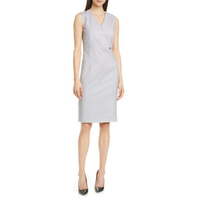 Petite Boss Destia Check Wool Sheath Dress, Grey