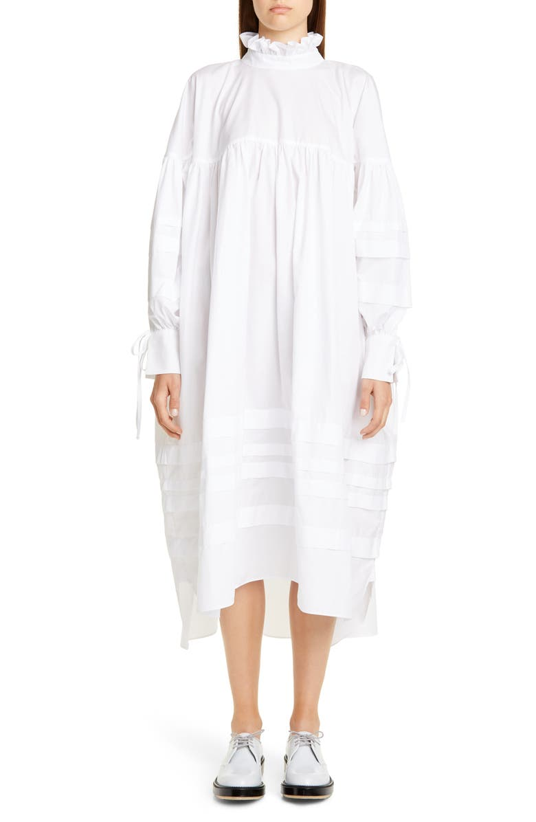 CECILIE BAHNSEN Beate Pleated Long Sleeve Midi Dress, Main, color, WHITE