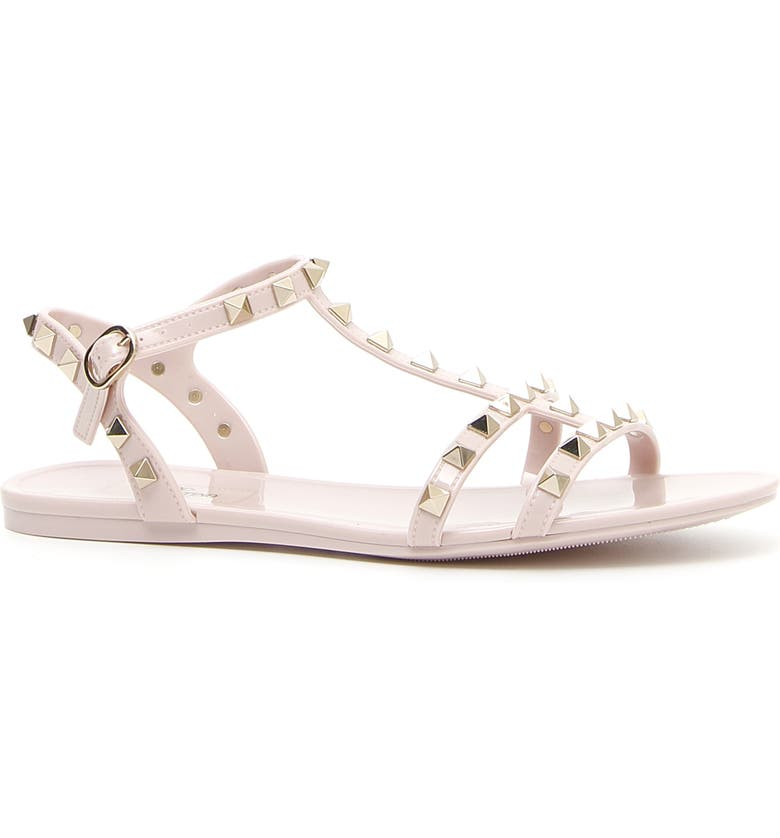 VALENTINO GARAVANI Rockstud T-Strap Sandal, Main, color, WATER ROSE