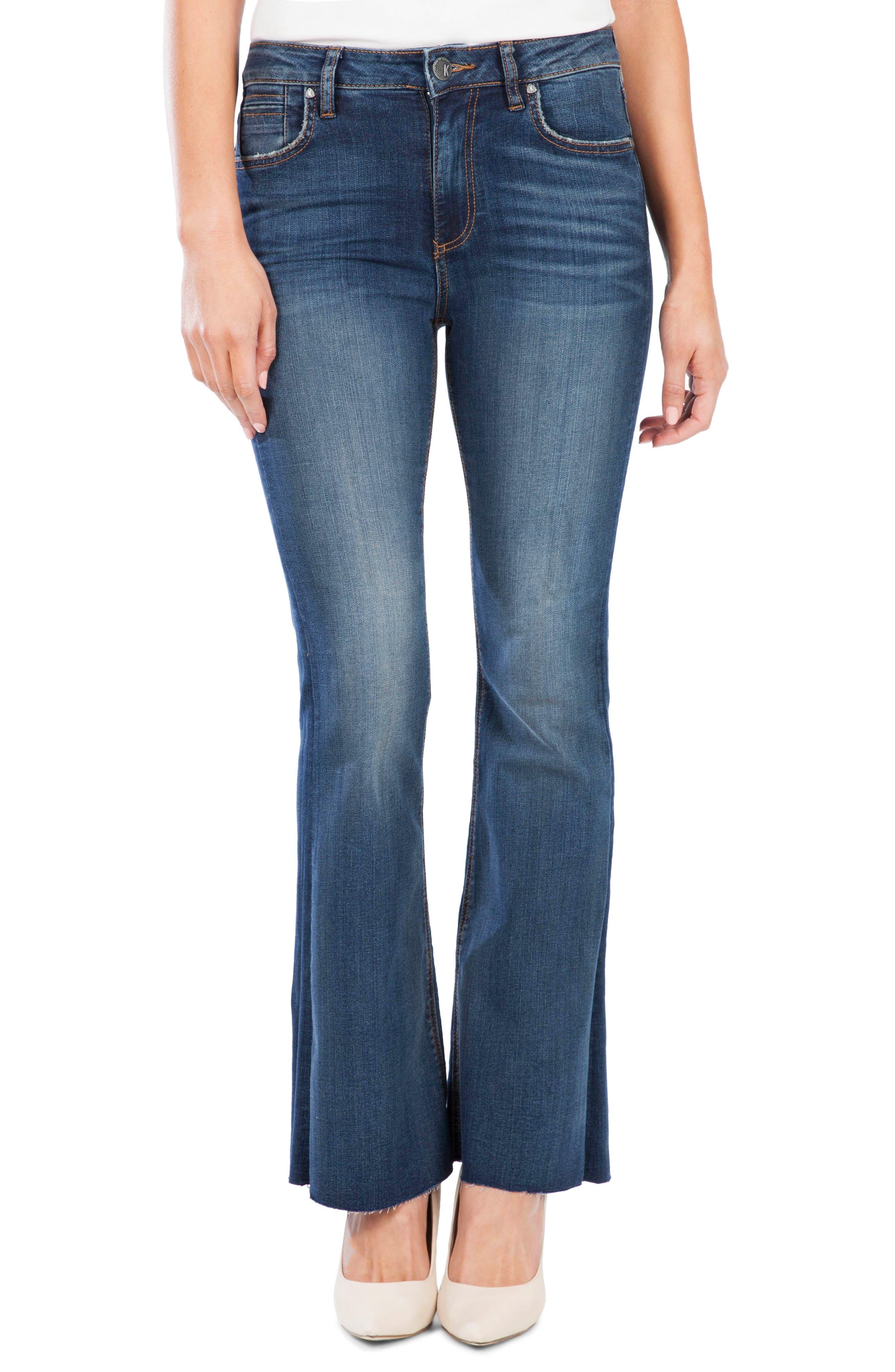 Women's Kut From The Kloth Stella High Waist Raw Hem Flare Jeans