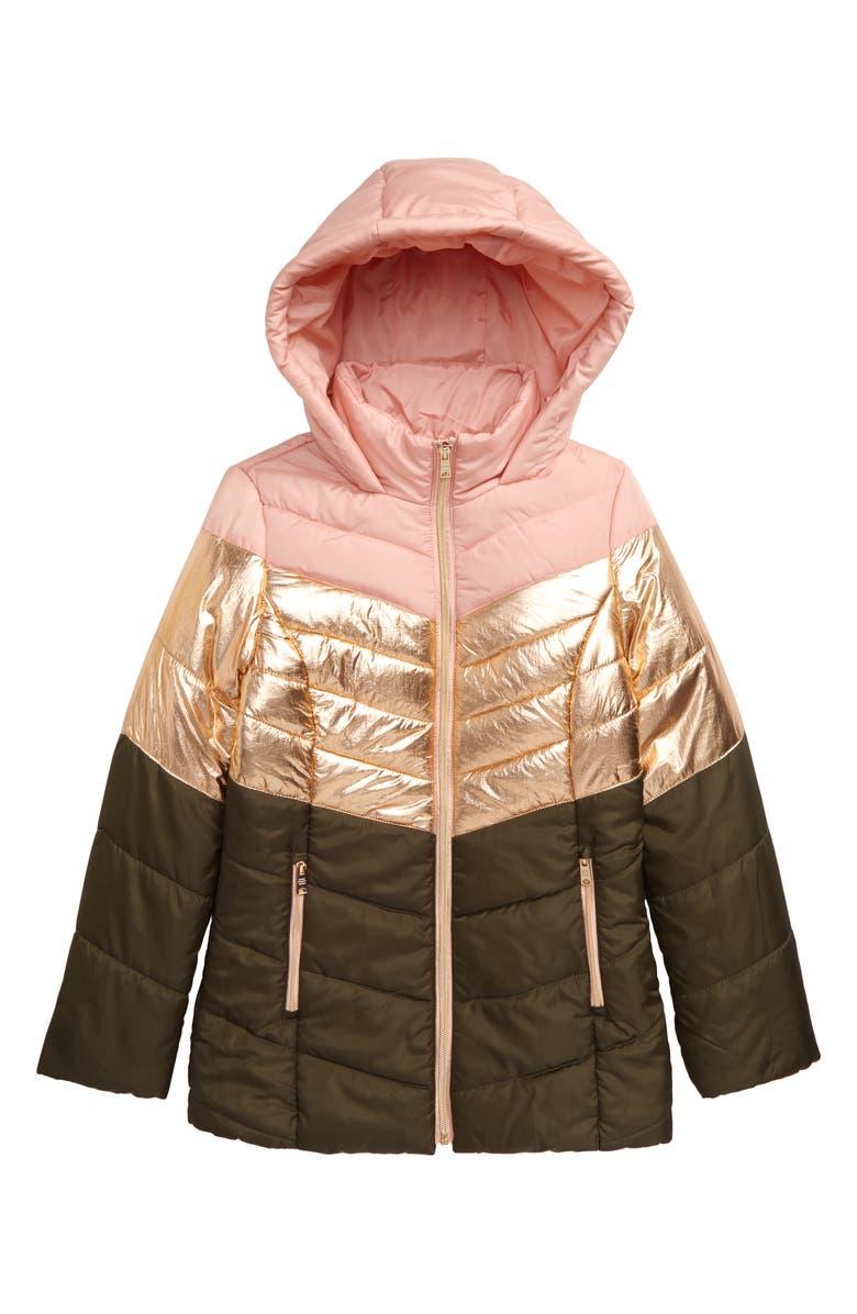 COFFEE SHOP Metallic Trim Puffer Jacket, Main, color, PINK BLISS