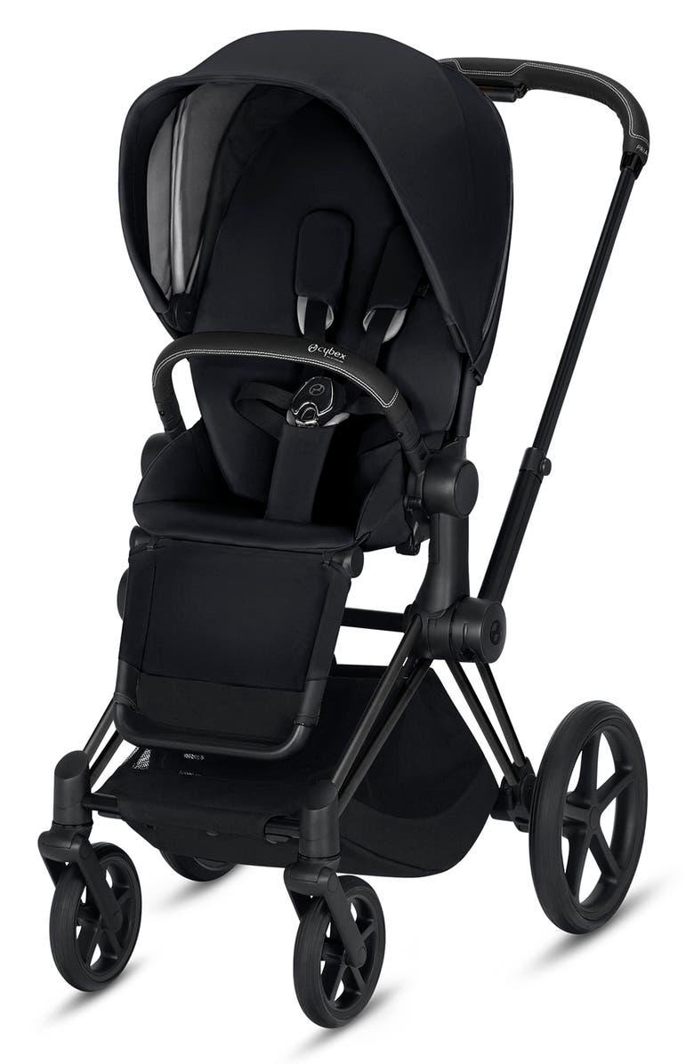 CYBEX e-Priam Matte Black Electronic Stroller with All Terrain Wheels, Main, color, PREMIUM BLACK