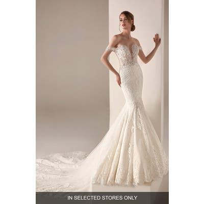 Pronovias Imelda Embellished Tulle Off The Shoulder Mermaid Wedding Dress, Size IN STORE ONLY - Ivory