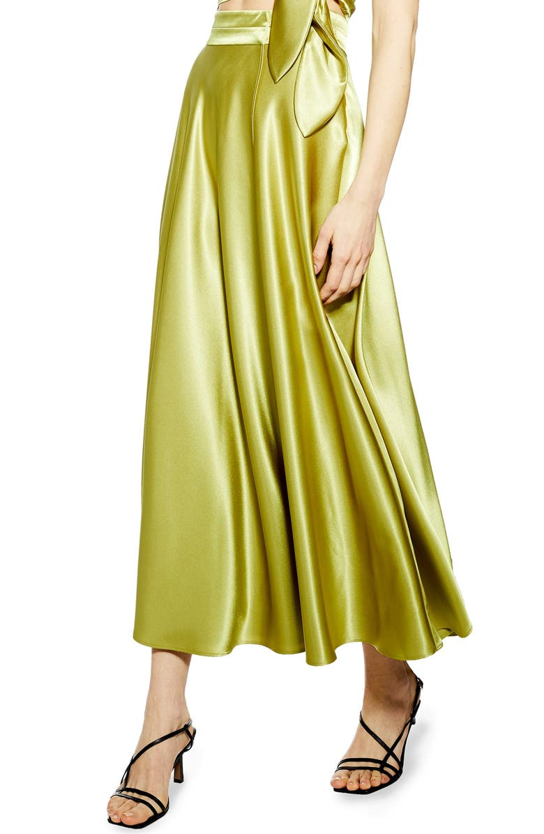TOPSHOP Satin Midi Skirt, Main, color, OLIVE