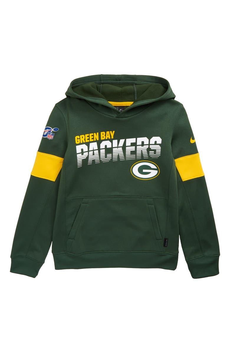 NIKE NFL Logo Green Bay Packers Therma Dri-FIT Hoodie, Main, color, FIR