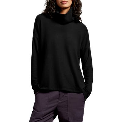 Michael Stars Lacy Madison Brushed Jersey Button Detail Long Sleeve Top, Black