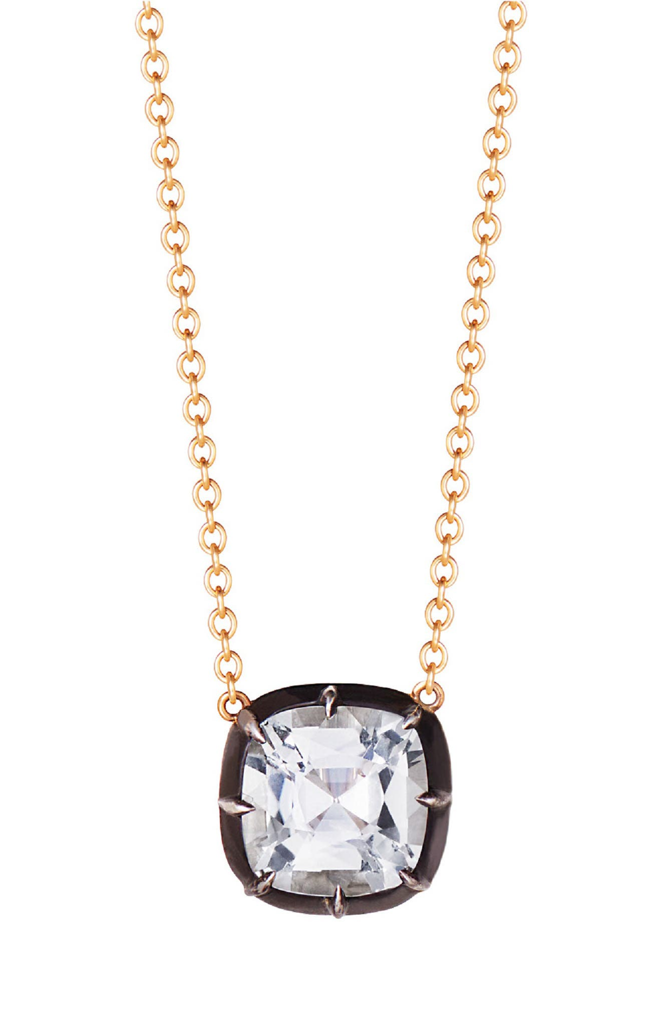 Collet Cushion White Topaz Pendant Necklace