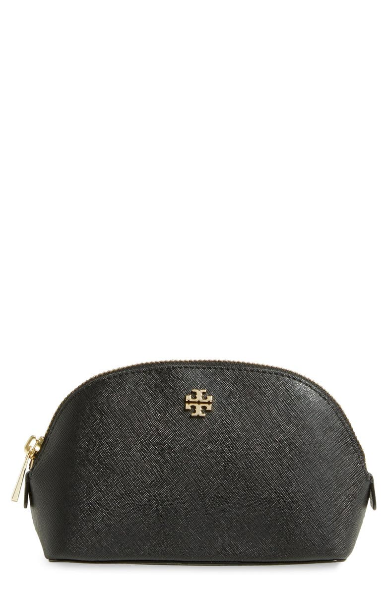 TORY BURCH 'Small Robinson' Leather Cosmetics Case, Main, color, 002