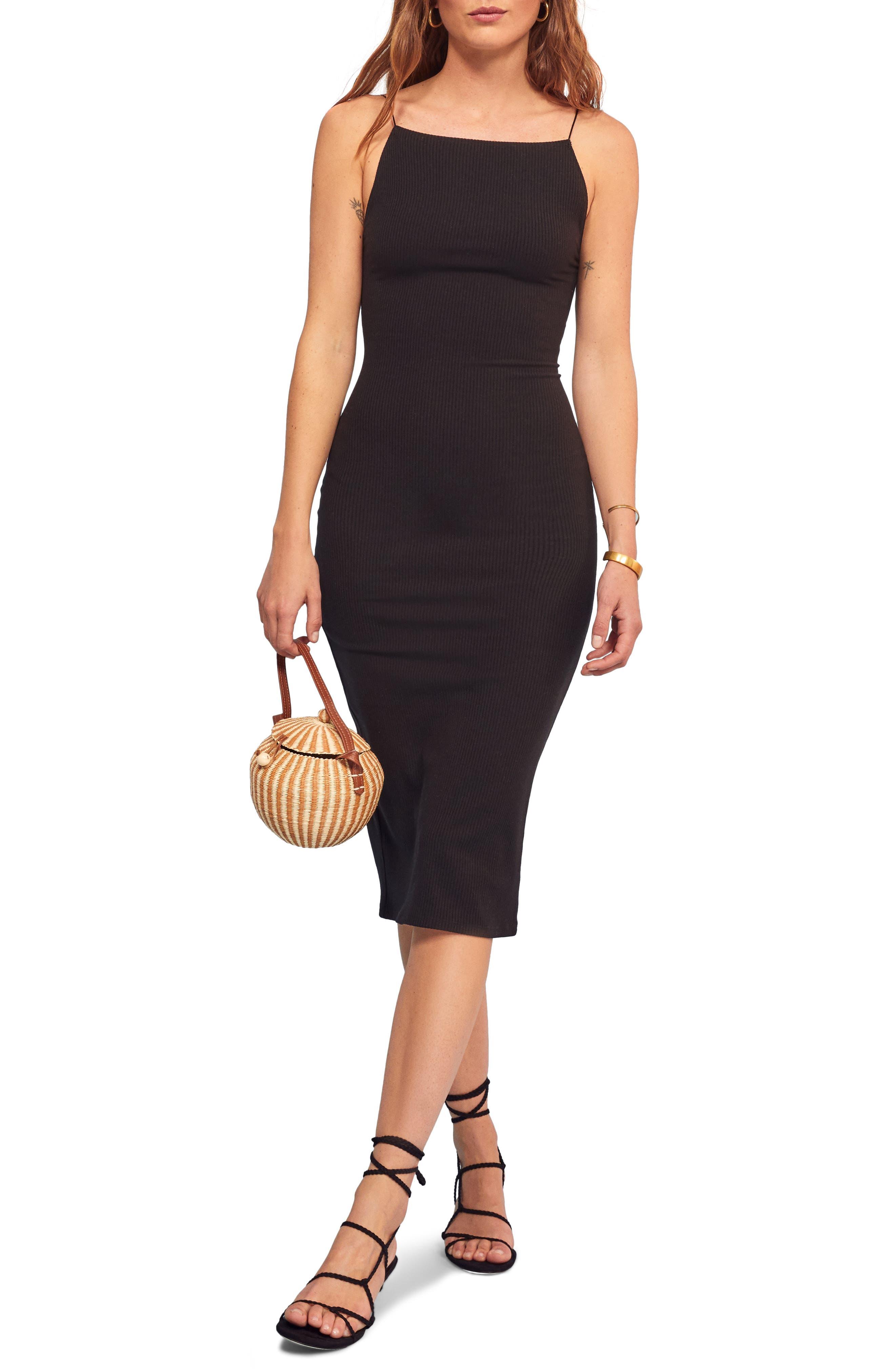 Reformation Rockie Sleeveless Body-Con Dress, Black
