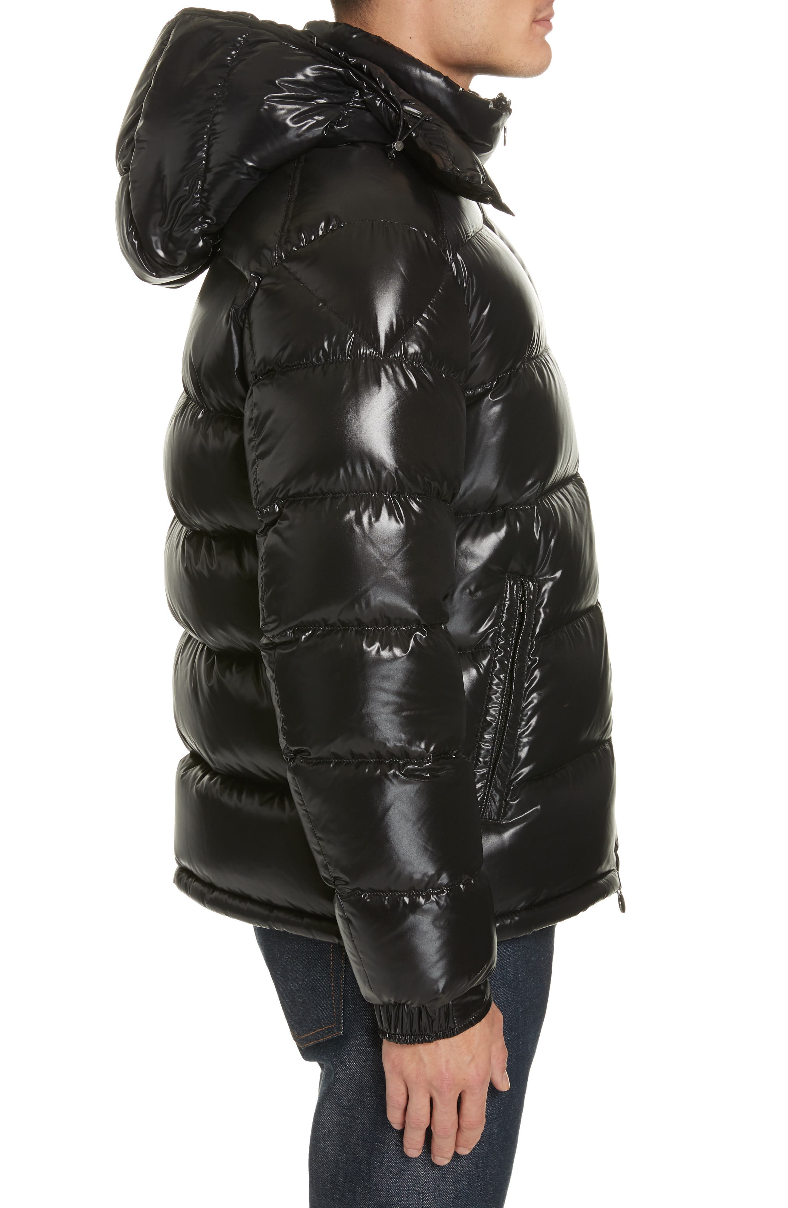,                             Maya Laque Quilted Down Jacket,                             Alternate thumbnail 3, color,                             BLACK