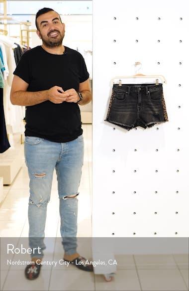 Leopard Side Stripe Denim Shorts, sales video thumbnail