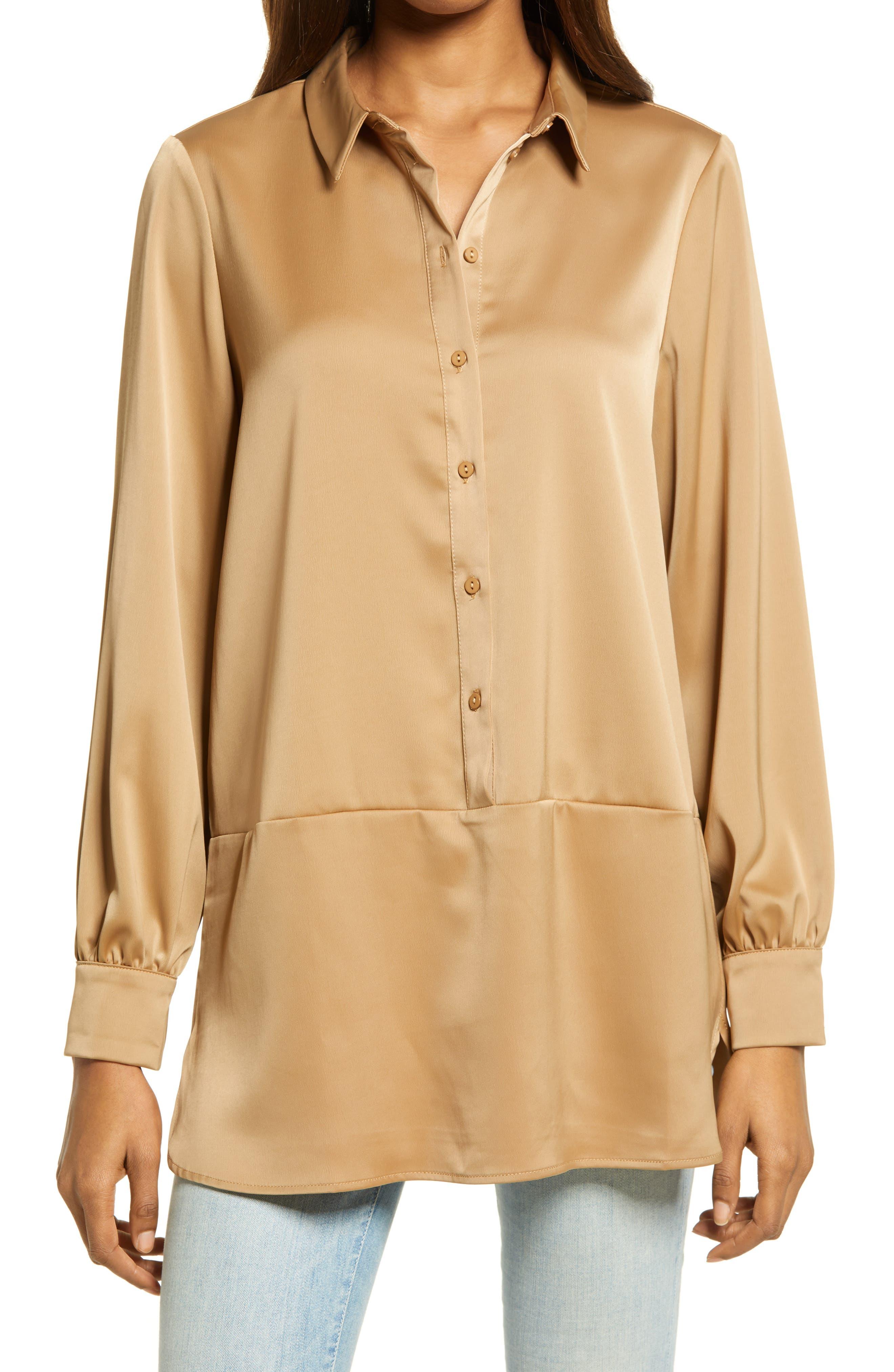 Onna Satin Tunic Popover Shirt