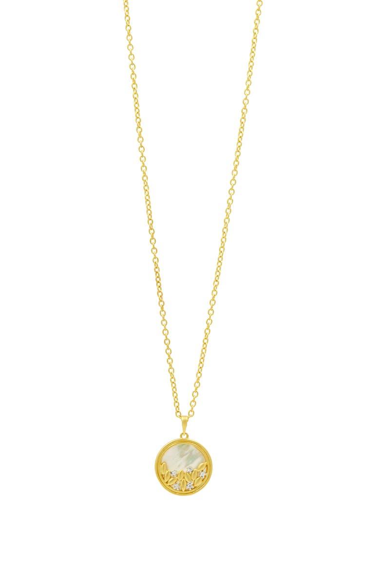 FREIDA ROTHMAN Fleur Bloom Pendant Necklace, Main, color, WHITE/ GOLD