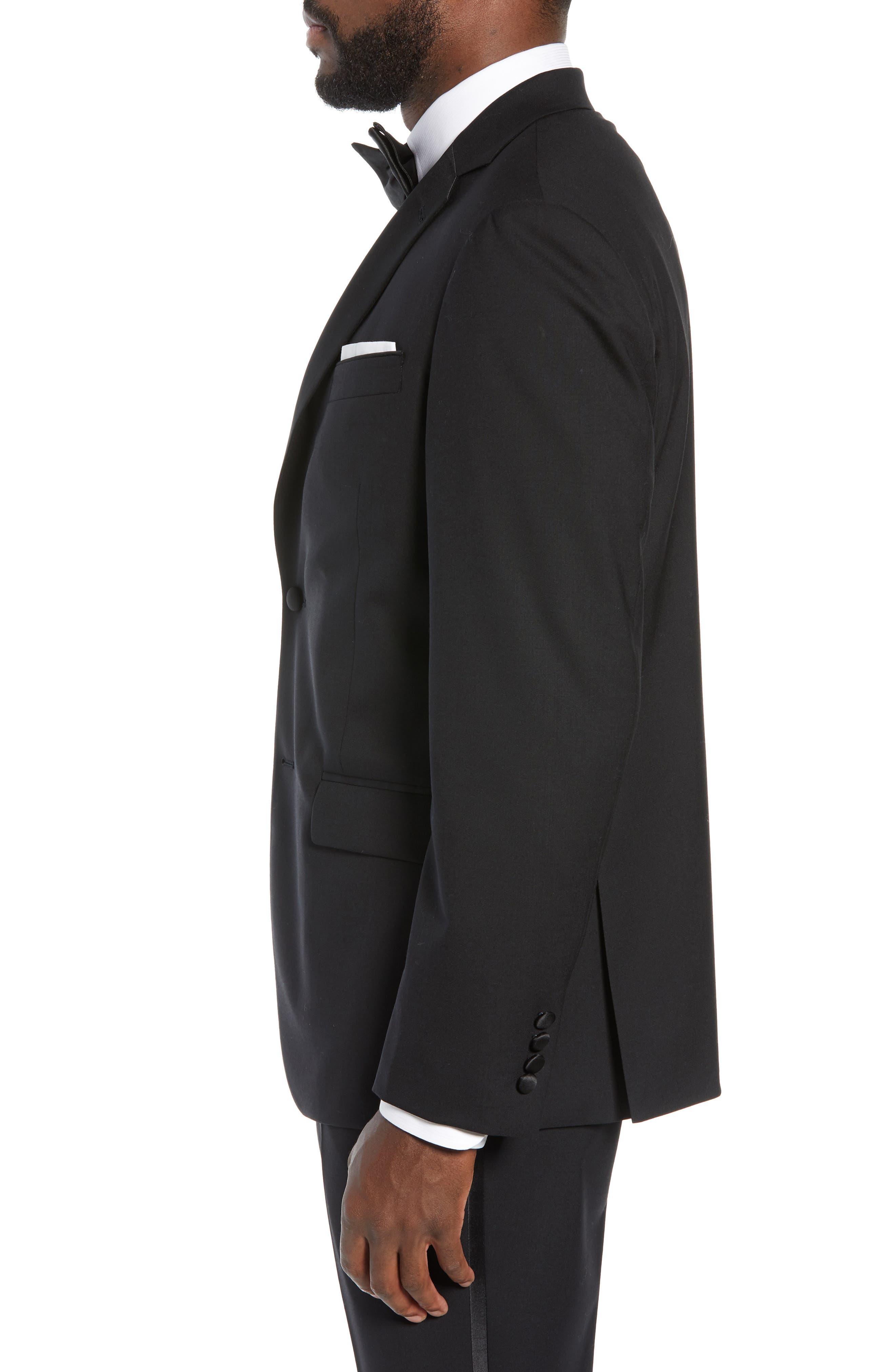 ,                             Trim Fit Stretch Wool Tuxedo Jacket,                             Alternate thumbnail 4, color,                             BLACK