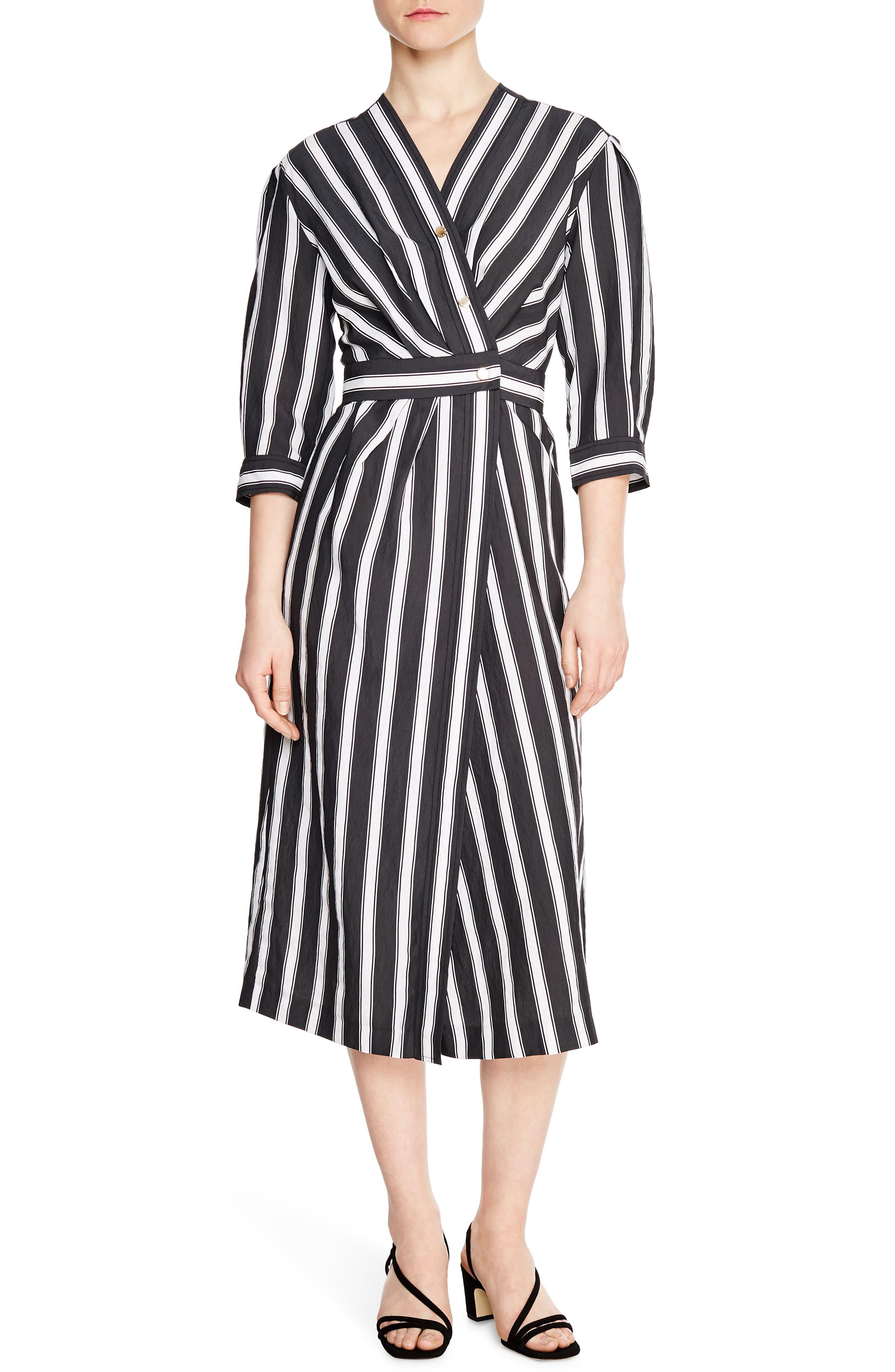 Sandro Carl Button Front Stripe Midi Dress, US / 40 FR - Black