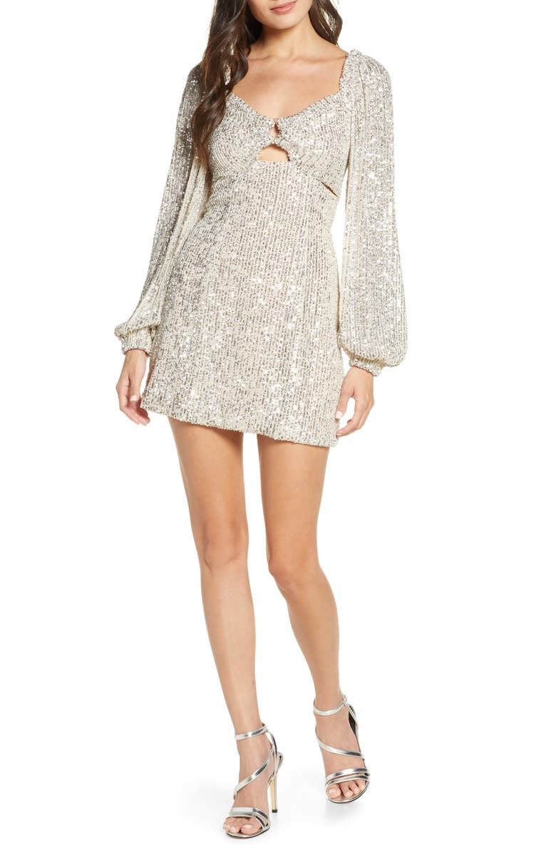 C/MEO COLLECTIVE Lustre Sequin Long Sleeve Minidress, Main, color, 905