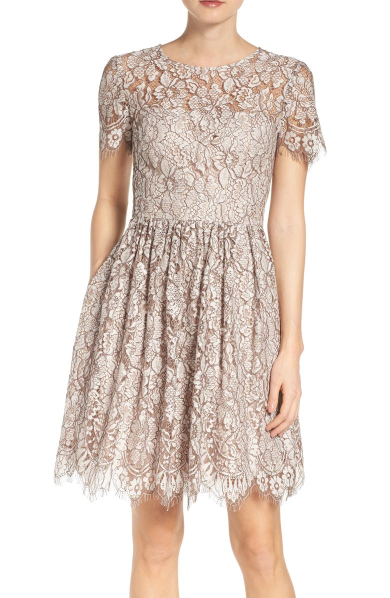 ELIZA J Lace Fit & Flare Dress, Main, color, 256