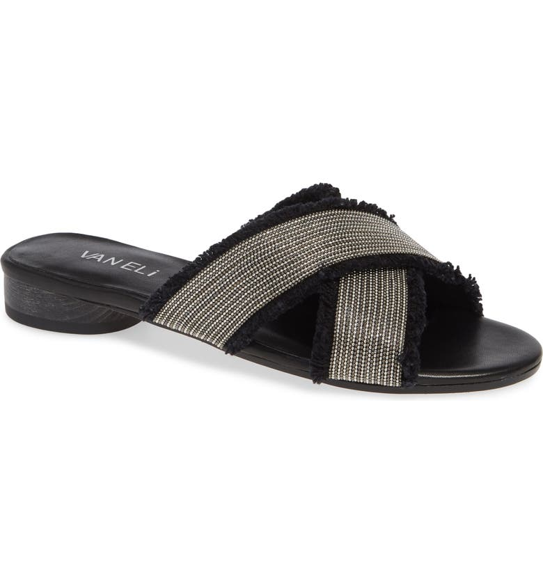 VANELI Baret Slide Sandal, Main, color, BLACK FABRIC