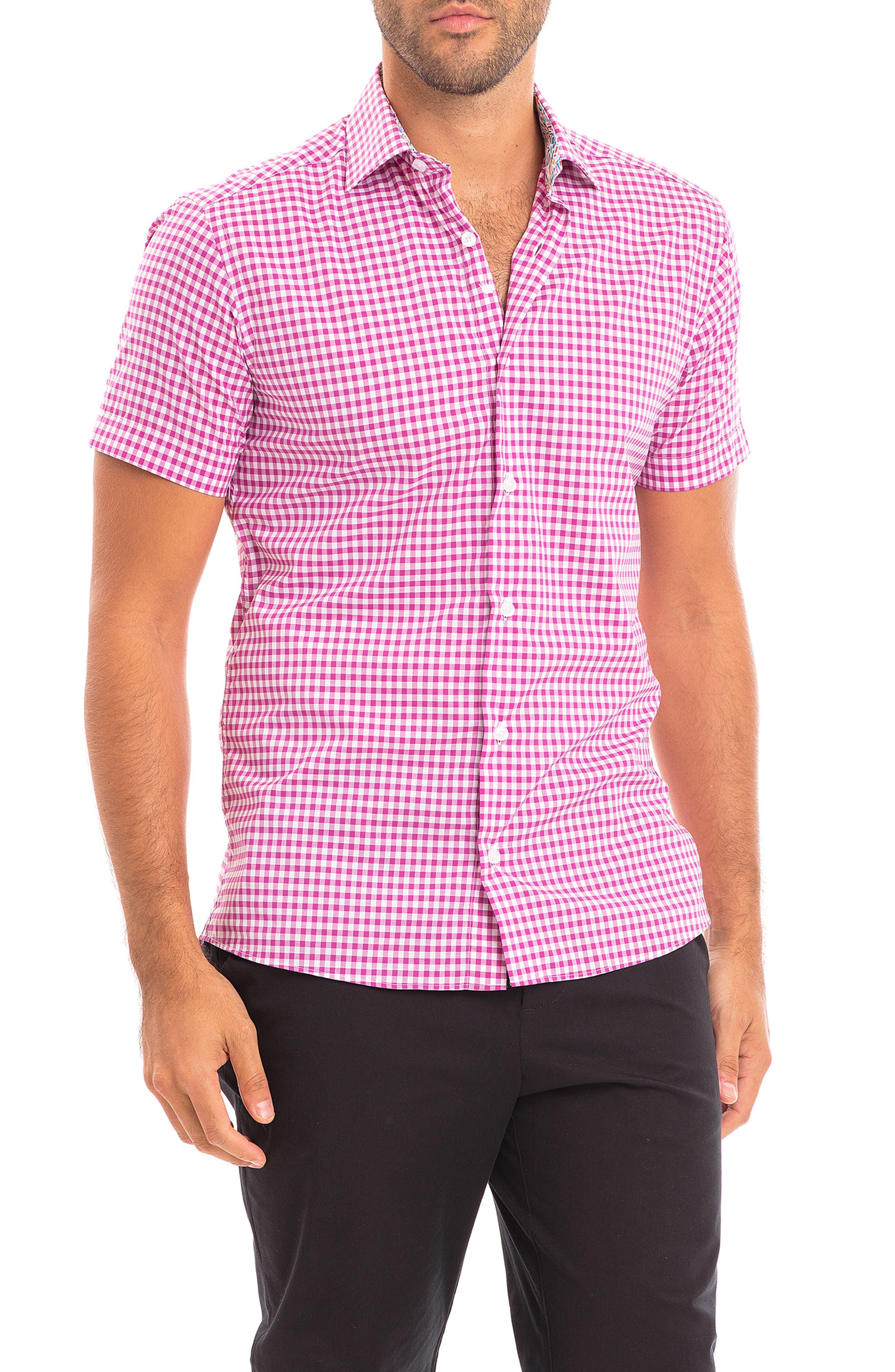 Ilan Slim Fit Check Short Sleeve Button-Up Shirt