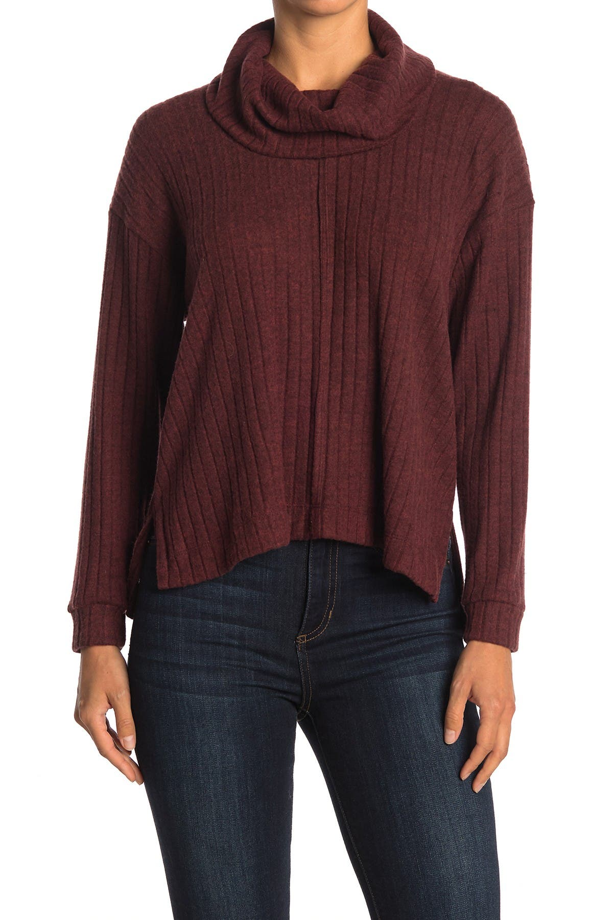 Image of Lush Ribbed Cowl Neck Top