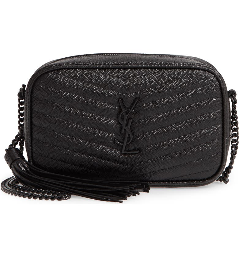 SAINT LAURENT Mini Lou Pebbled Leather Camera Bag, Main, color, 001