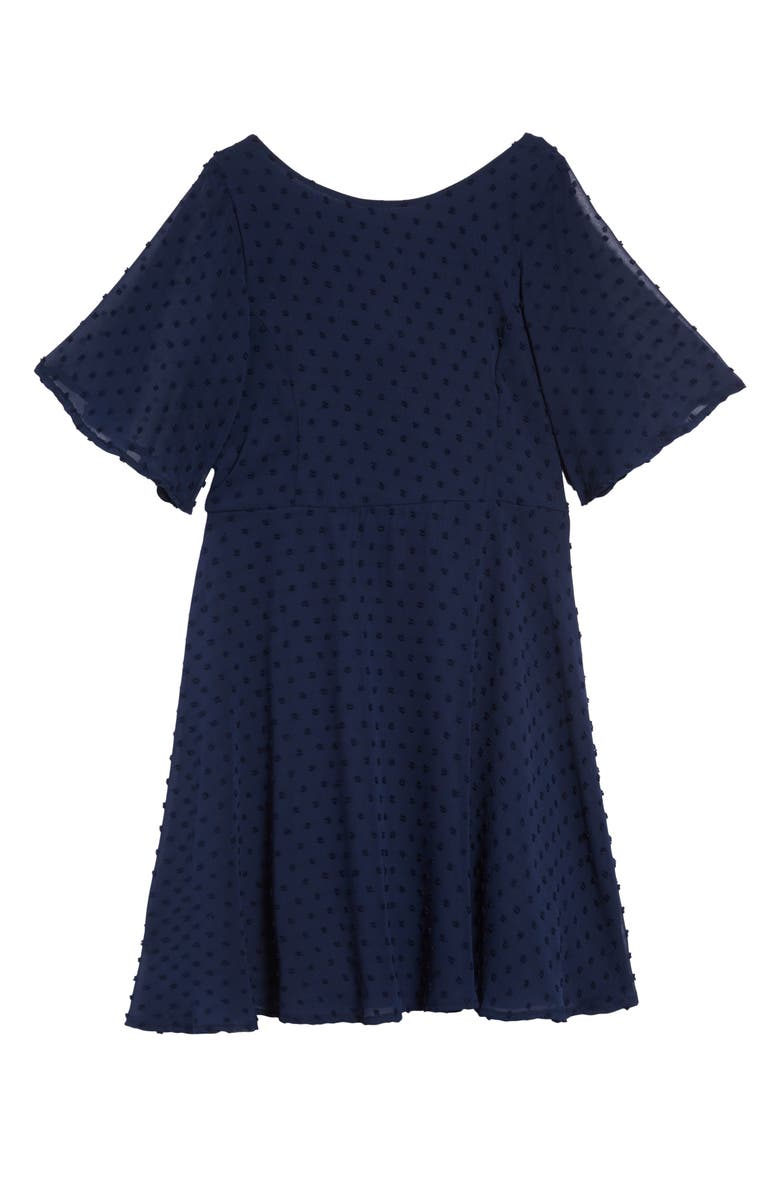 AVA & YELLY Swiss Dot Skater Dress, Main, color, NAVY