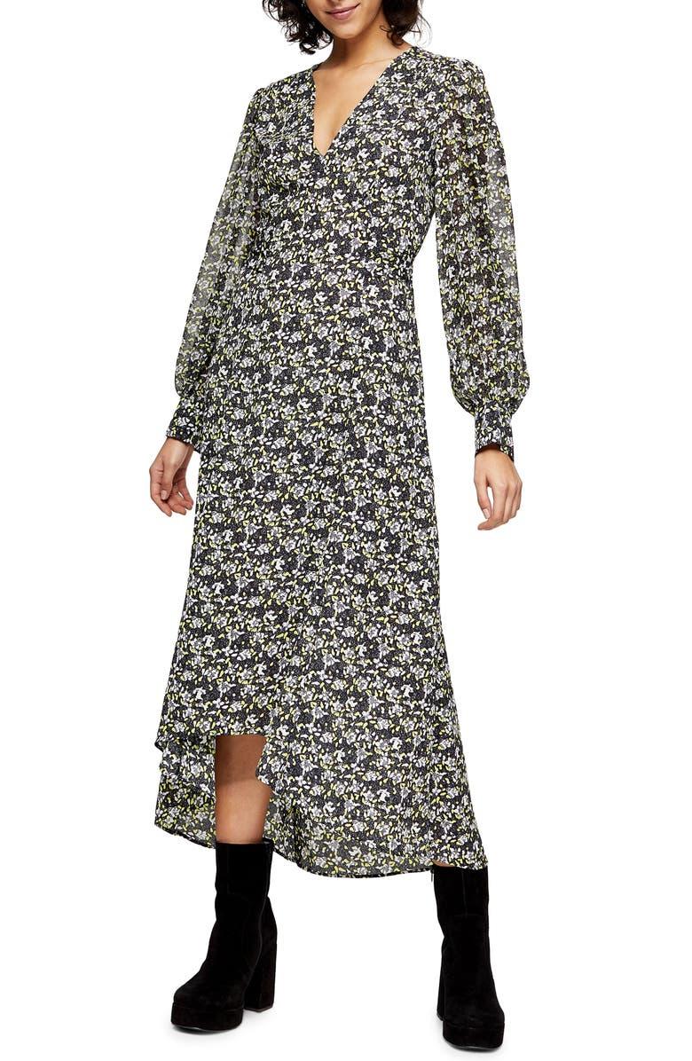TOPSHOP IDOL Floral Print Long Sleeve High/Low Dress, Main, color, GREEN MULTI
