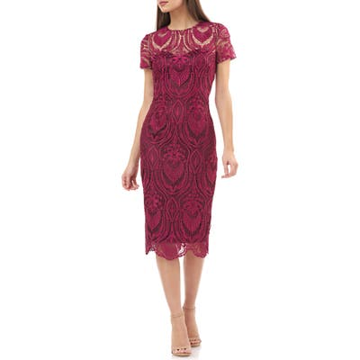Js Collections Embroidered Lace Cocktail Dress, Red