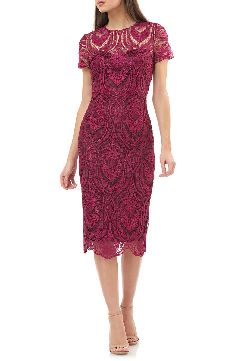 JS COLLECTIONS Embroidered Lace Cocktail Dress, Main, color, CABERNET