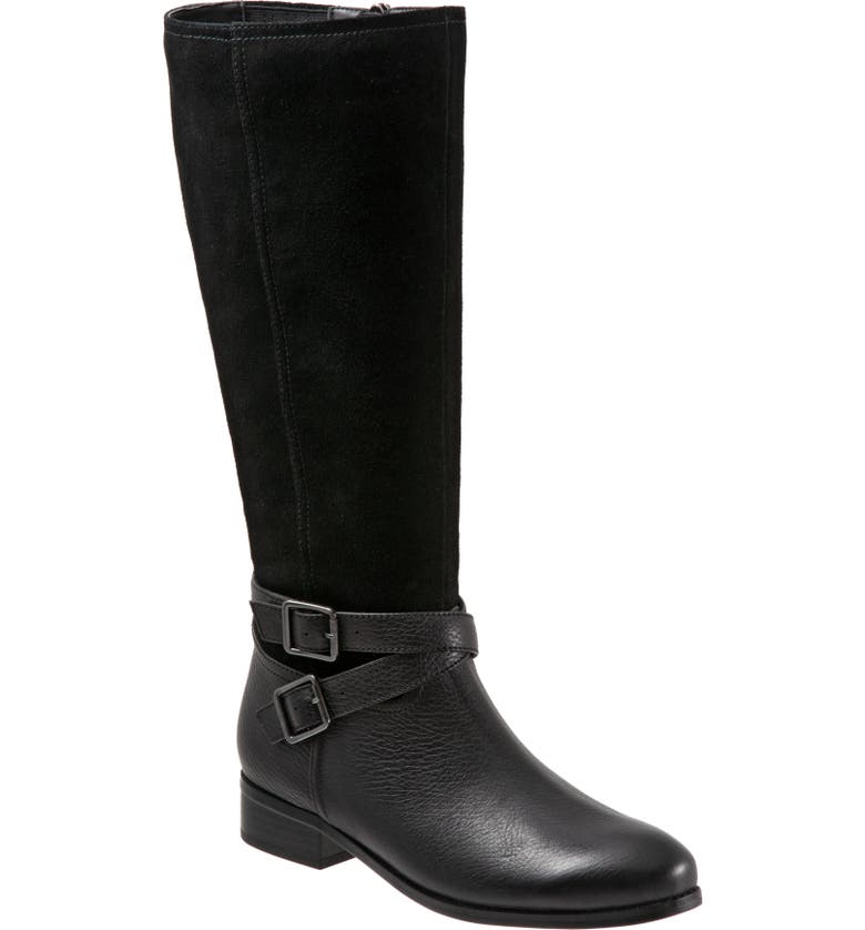 TROTTERS Larkin Knee High Boot, Main, color, BLACK SUEDE/ BLACK LEATHER