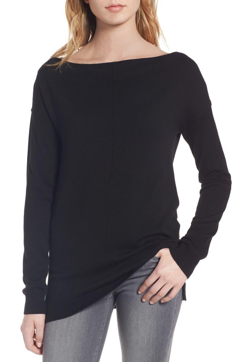 TROUVÉ Bateau Neck Sweater, Main, color, 001