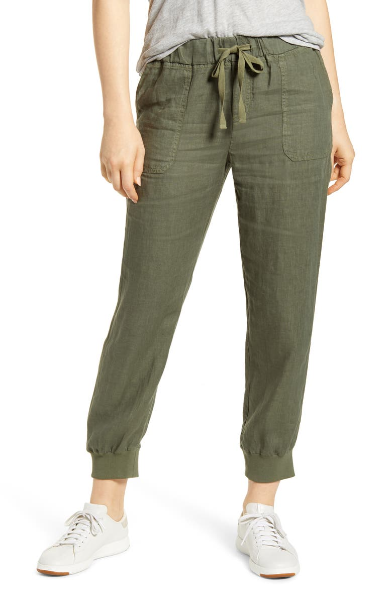 CASLON<SUP>®</SUP> Linen Jogger Pants, Main, color, GREEN BEETLE