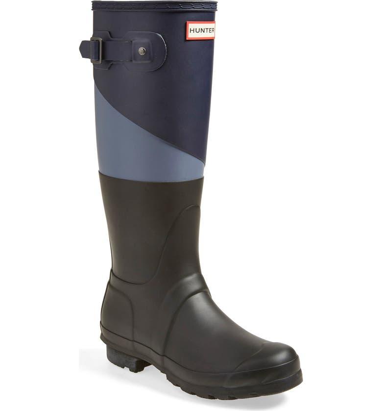 HUNTER 'Original - Asymmetric Colorblock' Waterproof Rain Boot, Main, color, 418
