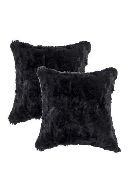 "Image of Natural Genuine Rabbit Fur Pillow - Set of 2 - 18"" x 18"" - Black"