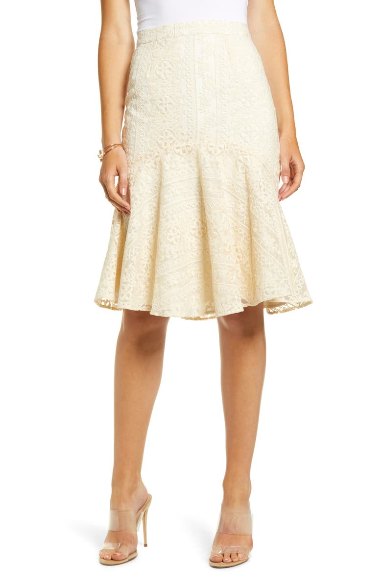 RACHEL PARCELL Embroidered Flounce Skirt, Main, color, BEIGE SWAN