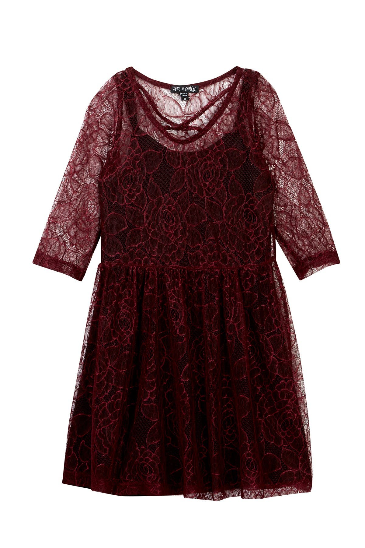Image of AVA AND YELLY Lace Dress & Slip Set