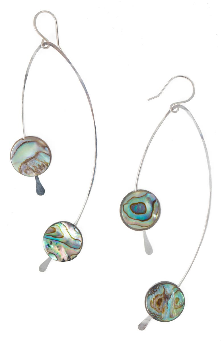 TERESSA LANE JEWELRY Jemimah Hammered Art Earrings, Main, color, SILVER