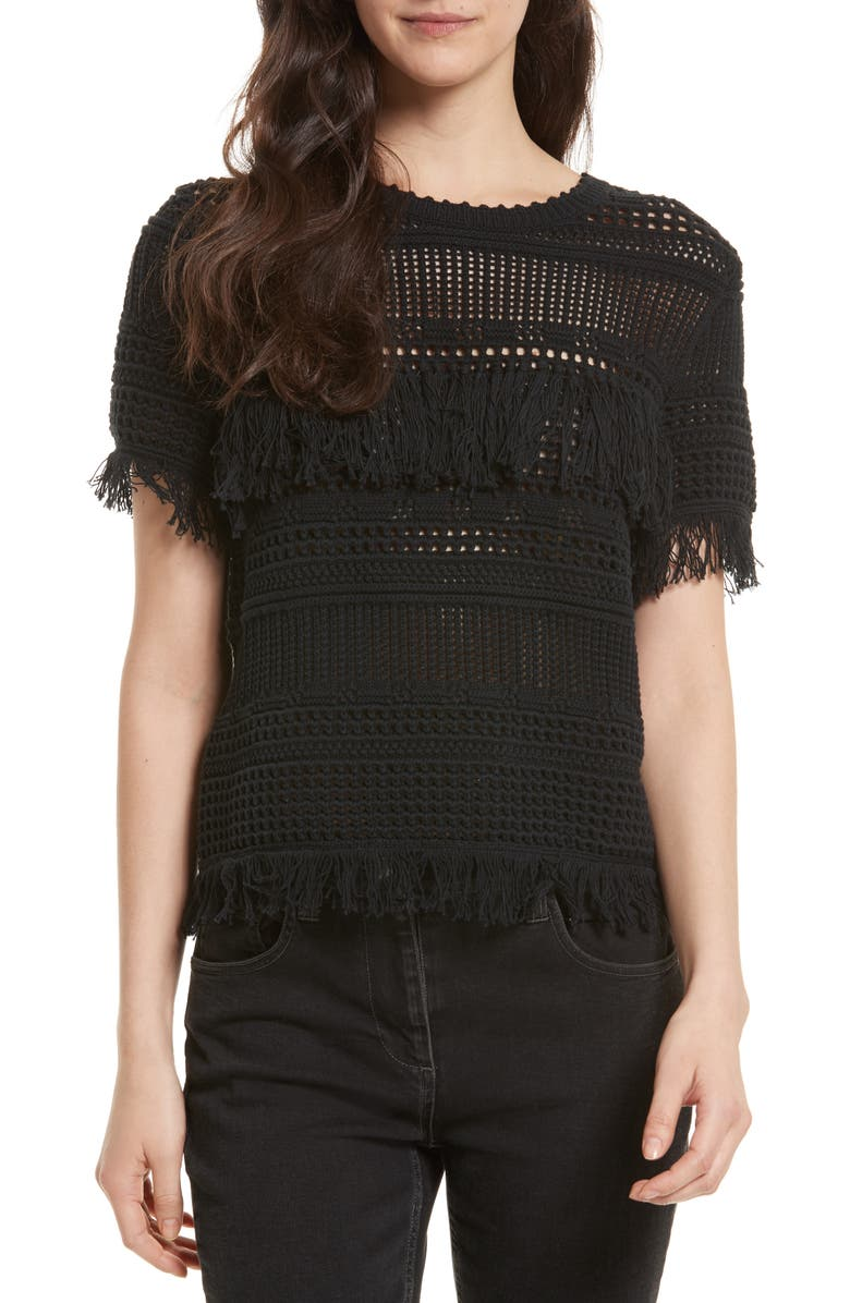 REBECCA MINKOFF Miwok Crochet Top, Main, color, 001