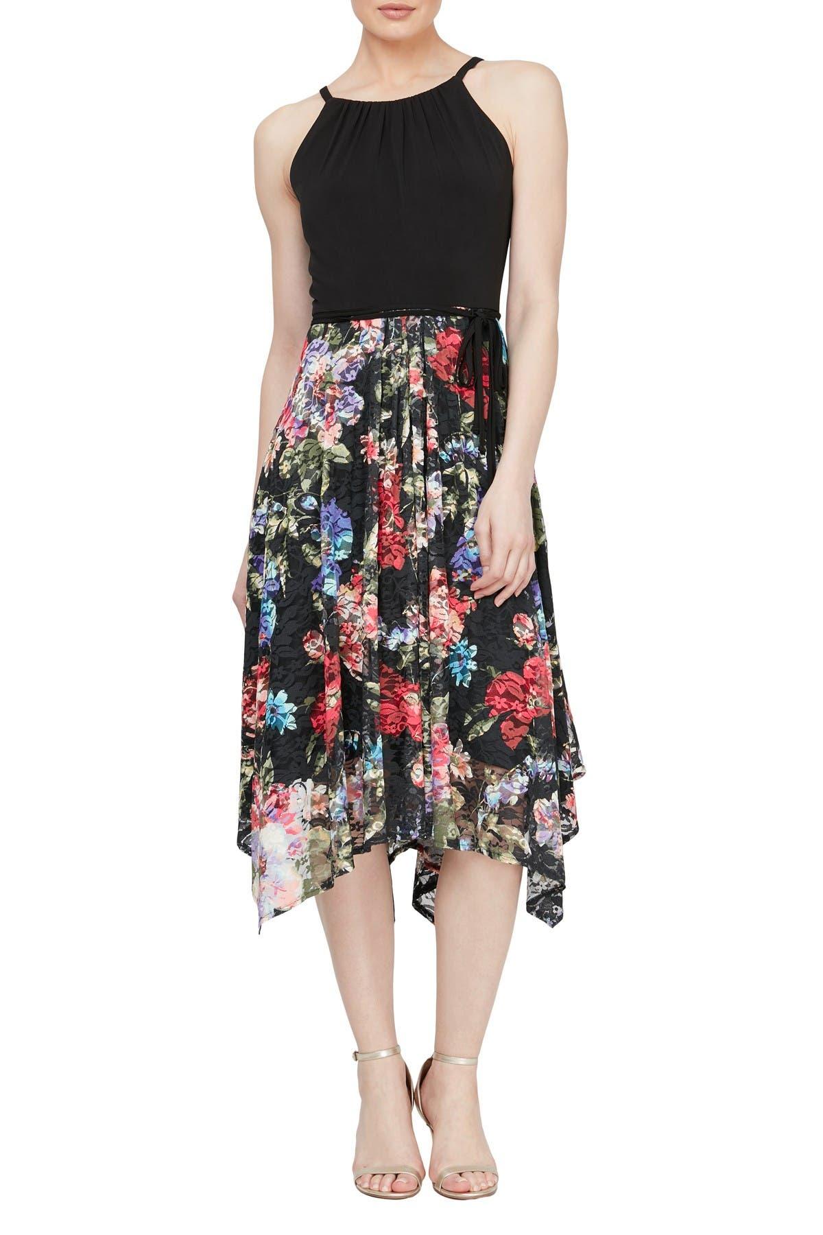 Image of SLNY Floral Handkerchief Hem Dress