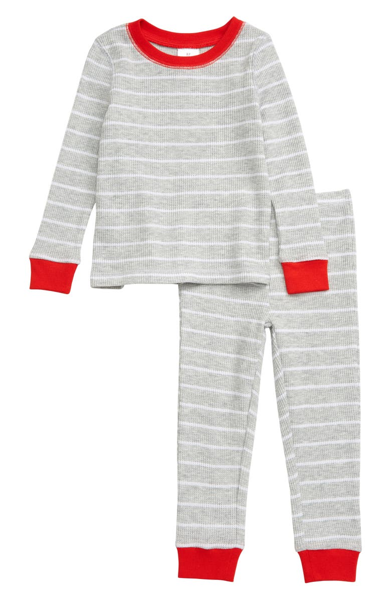 RACHEL PARCELL Thermal Fitted Two-Piece Pajamas, Main, color, GREY LIGHT HEATHER STRIPE