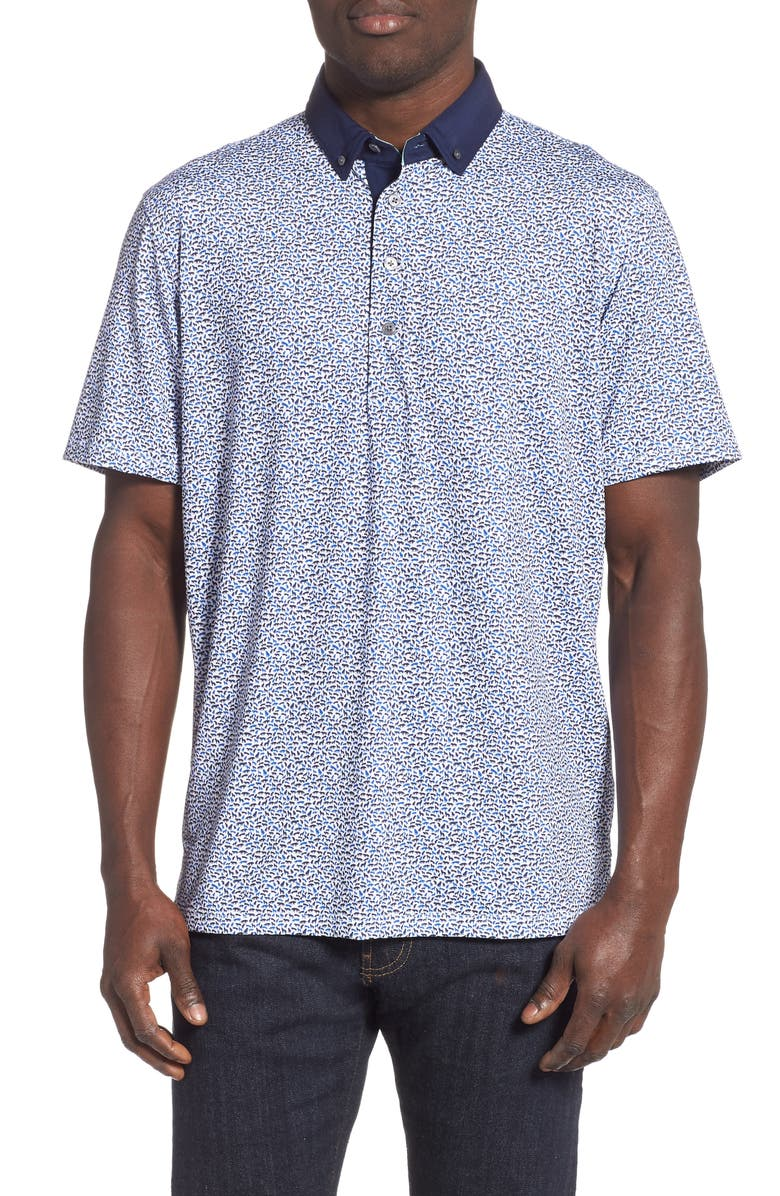 GREYSON Wolf Pack Print Polo Shirt, Main, color, 100